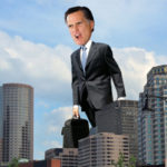 Gigantor Governor Romney pauses briefly by Boston's Custom House Tower to check email. - (AP Photo)